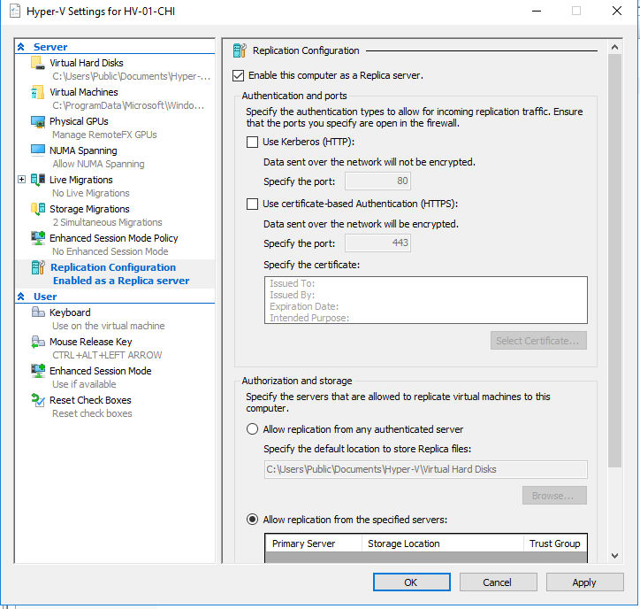 Windows Server 2016 Hyper-V Replication without the need of